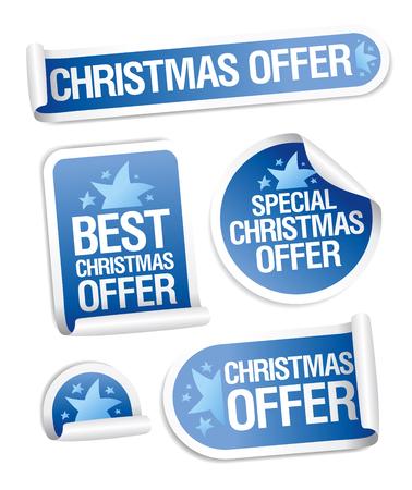 Christmas sale offer stickers set, vector illustration