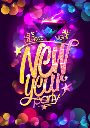 New year party vector poster design with burning cocktail and multicolored bokeh lights backdrop Vektorové ilustrace