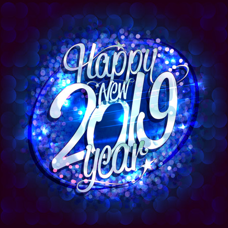 Happy new 2019 year card with blue sparkles backdrop, vector illustration Stock Vector - 126771882