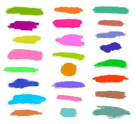 Dry brush, pen, marker, colored strokes set, hand drawn vector Фото со стока - 113920558