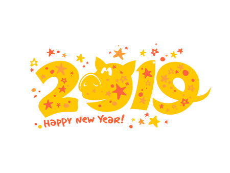 2019 year poster card design with yellow pig
