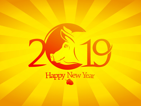 2019 year poster concept with yellow pig silhouette