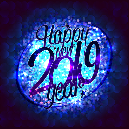 Happy new 2019 year card with blue sparkles backdrop, vector illustration----- Illustration