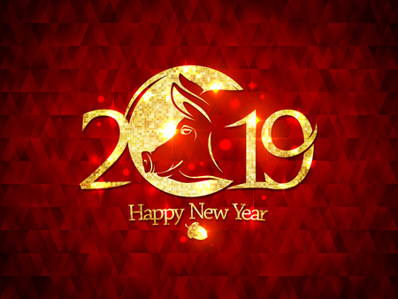 2019 year poster concept with golden pig silhouette against mosaic backdrop