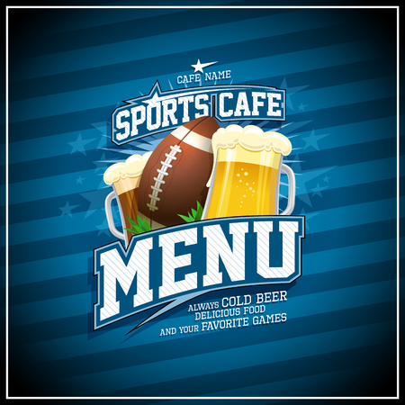 Sports cafe menu card vector design with rugby ball and glasses of beer