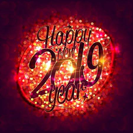 Happy new 2019 year card with red sparkles background