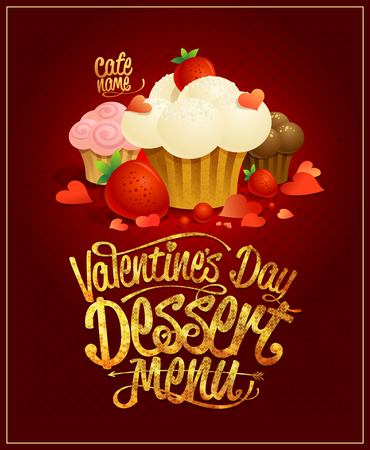 Valentine's day dessert menu card design with different pastries and hearts, golden title