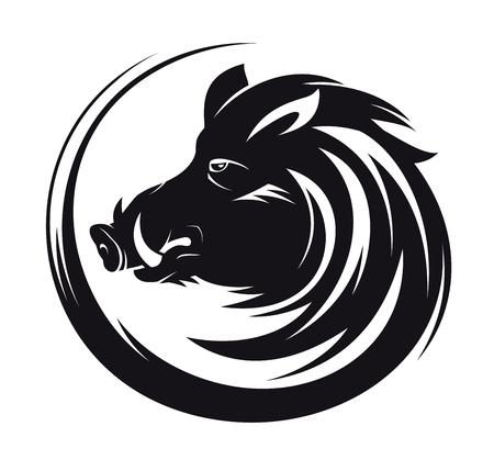 Zwijnen hoofd profiel silhouet, kunst vector tattoo illustratie