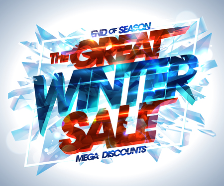 Great winter sale poster with exploded pieces of ice, end of season mega discounts