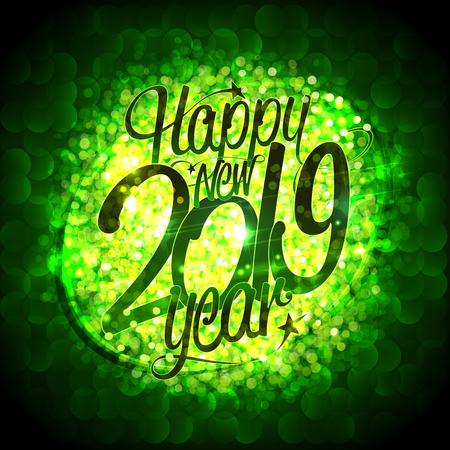 Happy new 2019 year card vector illustration