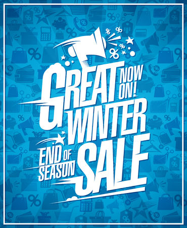 Great winter sale vector poster, end of season discounts Ilustrace