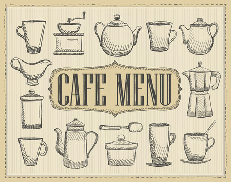 Cafe menu cover with hand drawn graphic illustration of an old style cutlery