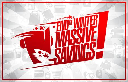 End of winter massive savings sale banner Illustration