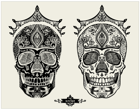 Hand drawn ornamental skulls set, sugar skulls with crowns, vector illustration Stock Illustratie