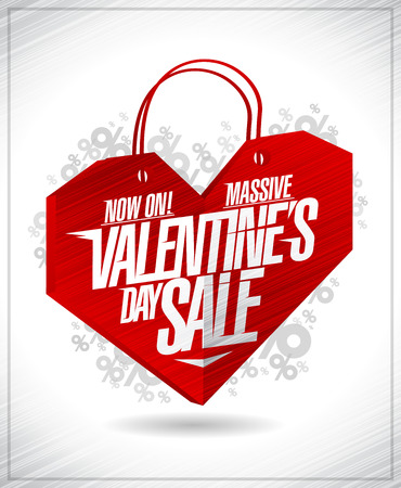 Massive Valentine's day sale advertising poster concept with origami heart