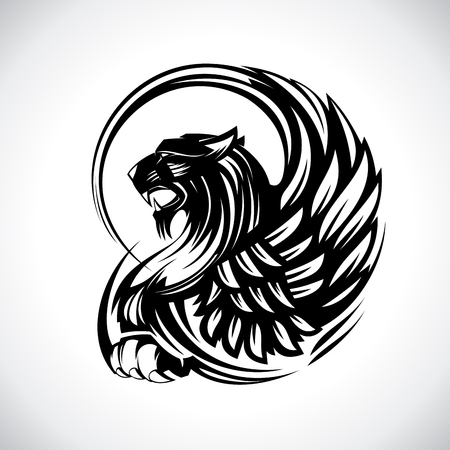 Griffin for heraldry or tattoo, vector design concept isolated on white Çizim