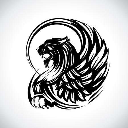 Griffon pour l'héraldique ou le tatouage, concept de dessin vectoriel isolé sur blanc
