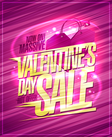 Massive Valentines day sale banner, hot offer advertising concept, golden text
