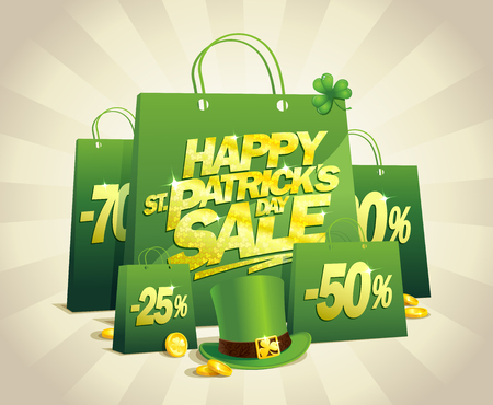 Patricks day sale banner concept with green paper shopping bags