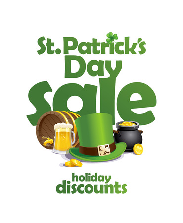 St. Patricks day sale banner, holiday discounts vector poster
