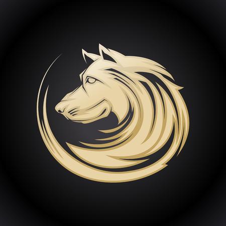Golden dog profile portrait, vector illustartion