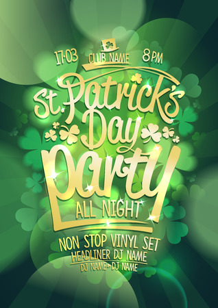 Patricks day party poster with green clover on a backdrop