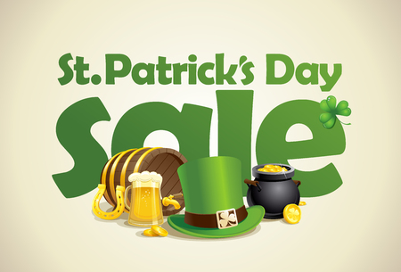 Patricks day sale vector poster design with beer, leprechaun green hat, barrel and jar of golden coins Illustration