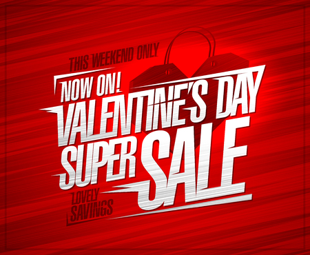 Valentines day super sale poster concept, lovely savings this weekend only