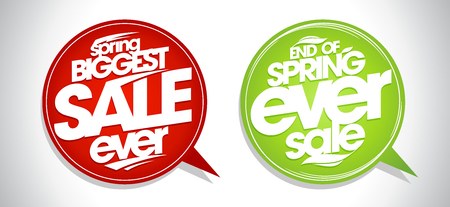 Spring biggest sale ever, end of spring ever sale, speech bubbles set
