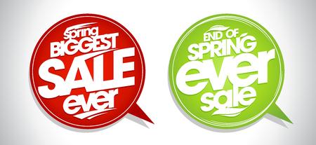 Venta de primavera más grande de todos los tiempos, venta de fin de primavera, conjunto de burbujas de discurso Ilustración de vector