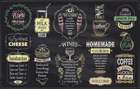 Menú de pizarra para cafetería o restaurante, menú vegano, menú sin gluten, queso a la plancha, sándwiches, tortitas, vinos, galletas caseras, helados y café.