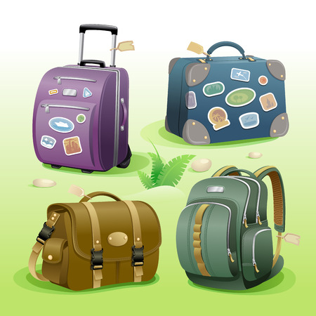 Traveling bags signs or icons set, illustration with suitcase, bag, briefcase and backpack