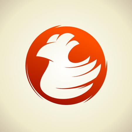 Hen bird concept, chicken silhouette against circle Illustration