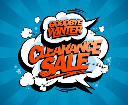 Goodbye winter, clearance sale, pop-art style advertising poster Ilustração