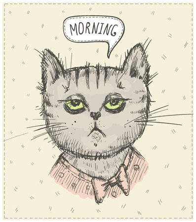 Morning quote card with tired sleepy cat , graphic vector illustration Ilustração