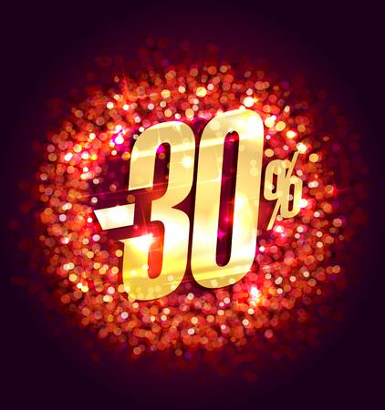 Sale up to 30% off, square banner with red sparkles backdrop and golden letters Ilustração