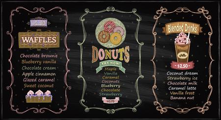 Donuts, waffles and blended drinks chalkboard menu set for cafe or restaurant