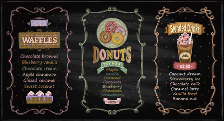 Donuts, waffles and blended drinks chalkboard menu set for cafe or restaurant