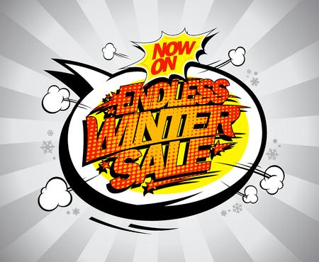 Endless winter sale, seasonal advertising poster concept Ilustração