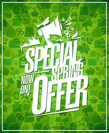Special spring offer, sale vector poster design