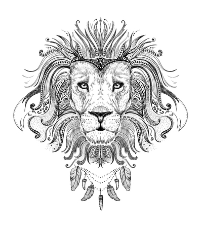 Graphic poster with lion king dressed in boho style feathers necklace, front view portrait, hand drawn vector illustration, t-shirt design