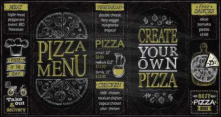 Pizza menu list chalkboard set, create your own pizza, pizza of the day, discounts, delivery
