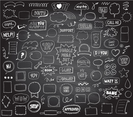 Graphic sketch elements set on a chalkboard - doodle graphic line signs and symbols, speech bubbles, frames, phrases, etc. Hand drawn vector illustration