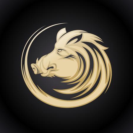 Golden boar head profile silhouette, art vector tattoo illustration