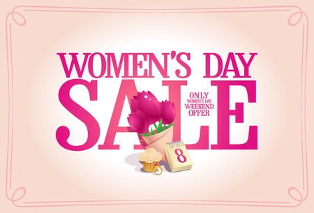 Women's day sale poster concept, holiday weekend offer banner