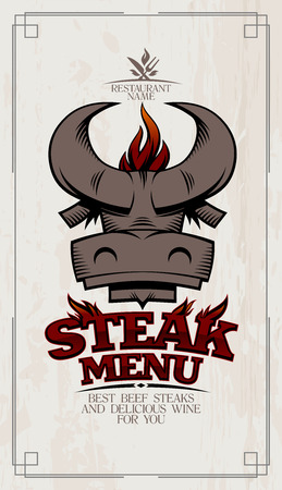 Steak menu card cover design with bull head and BBQ flame Stockfoto - 118774802
