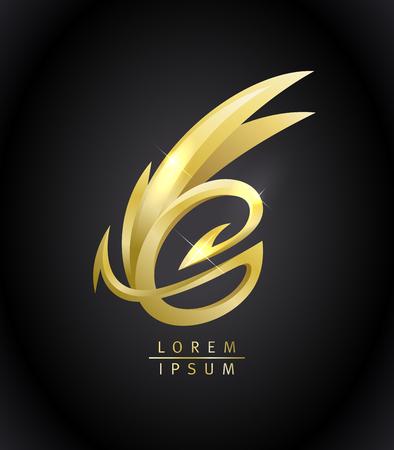 Golden dragon vector logo