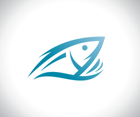 Fish peeking out of the water logotype vector concept