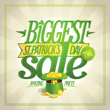 Patricks day sale banner with green leprechaun hat full of golden coins