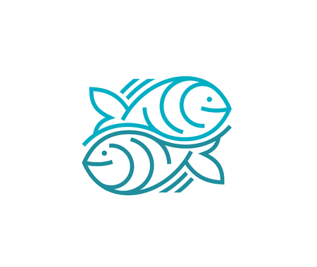Two fishes logotype vector design